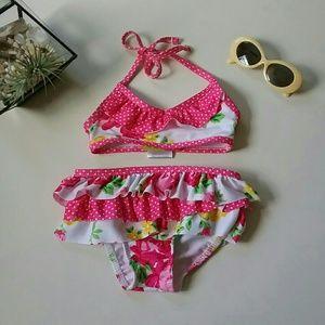 Penelope Mack | Pink Floral Ruffle Bikini | 12M